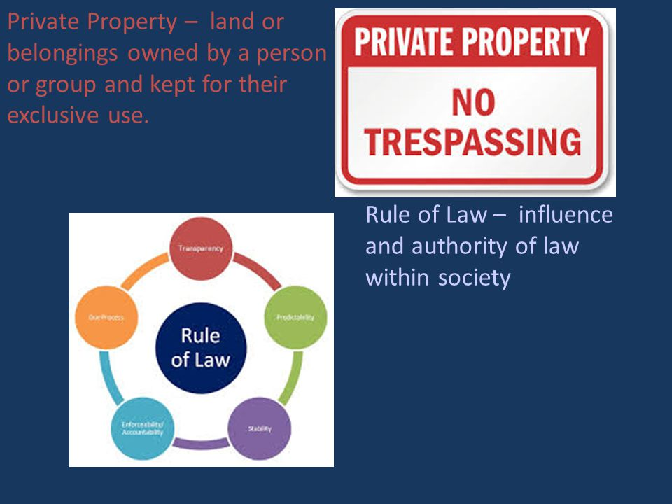 Private Property – land or belongings owned by a person or group and kept for their exclusive use.