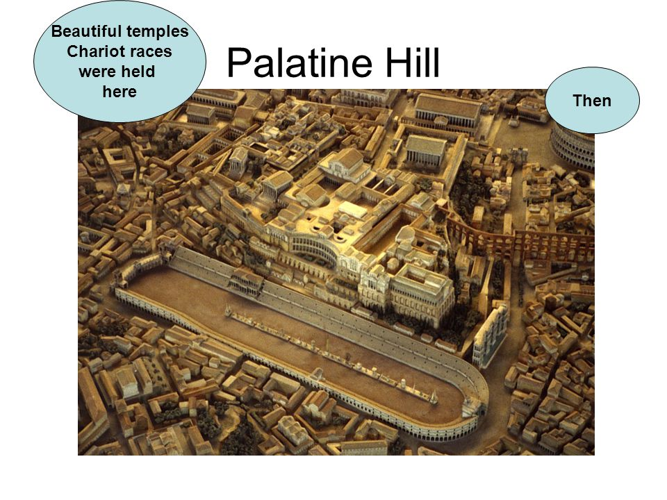 Palatine Hill Beautiful temples Chariot races were held here Then