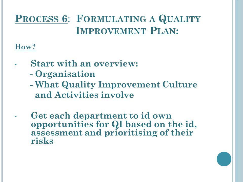 P ROCESS 6 : F ORMULATING A Q UALITY I MPROVEMENT P LAN : How? Start with an overview: - Organisation - What Quality Improvement Culture and Activitie