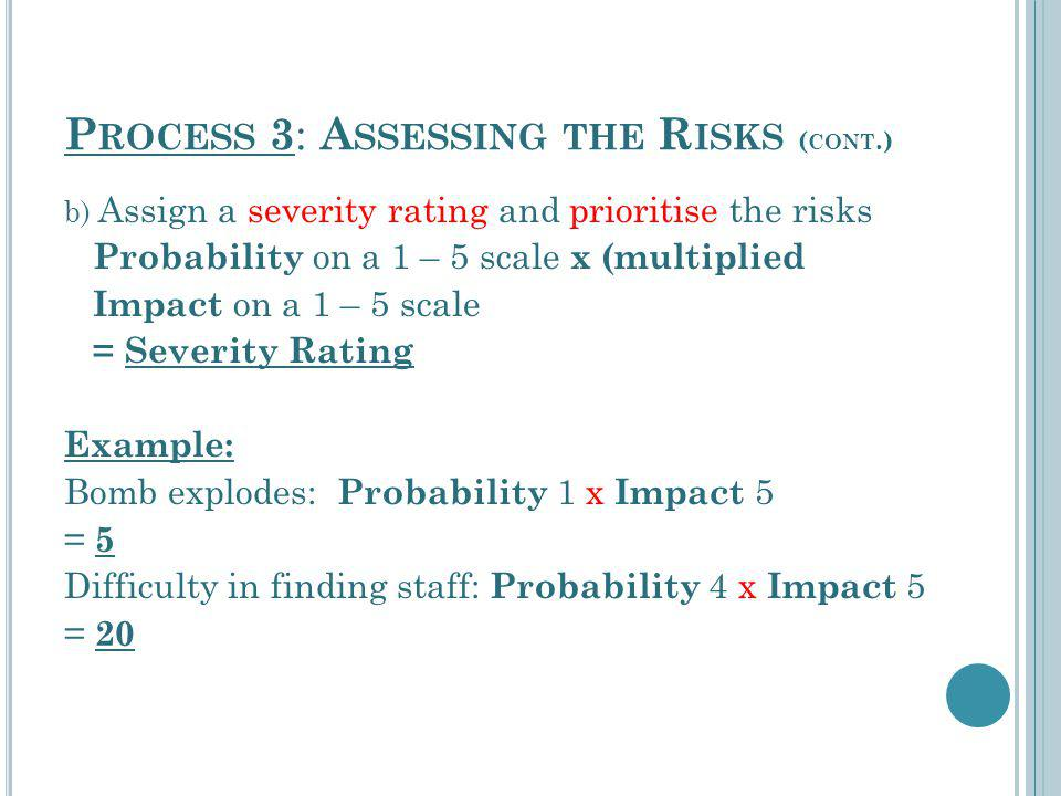 P ROCESS 3 : A SSESSING THE R ISKS ( CONT.) b) Assign a severity rating and prioritise the risks Probability on a 1 – 5 scale x (multiplied Impact on