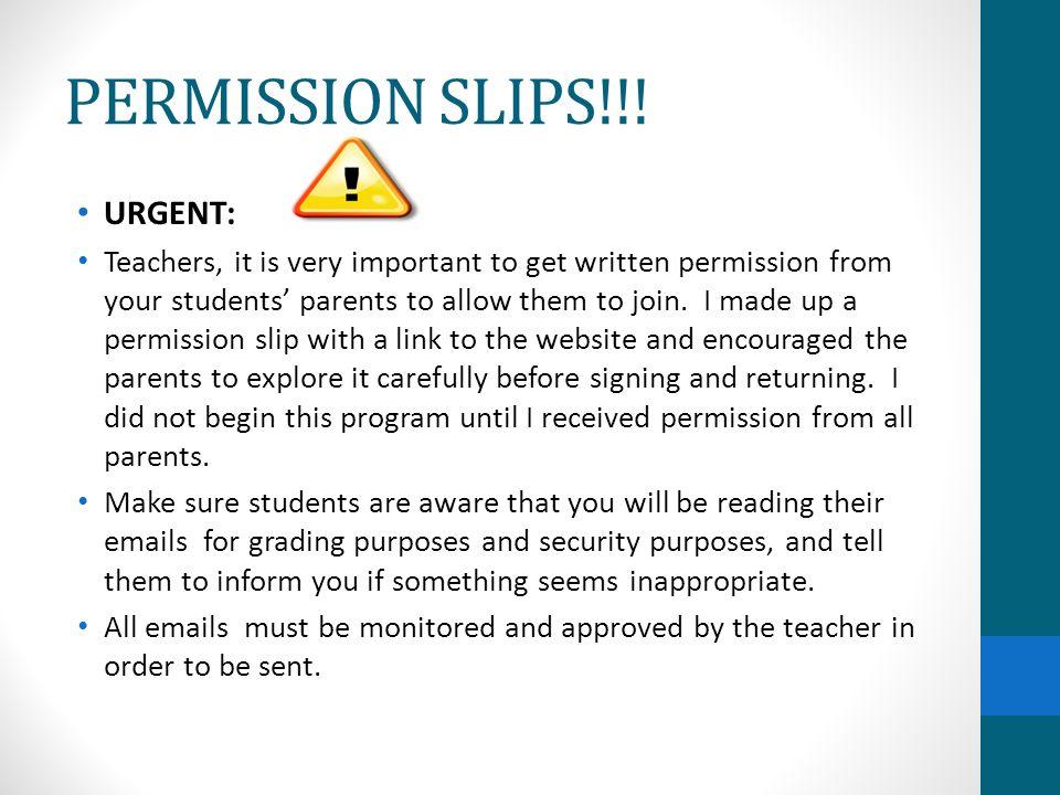 PERMISSION SLIPS!!.