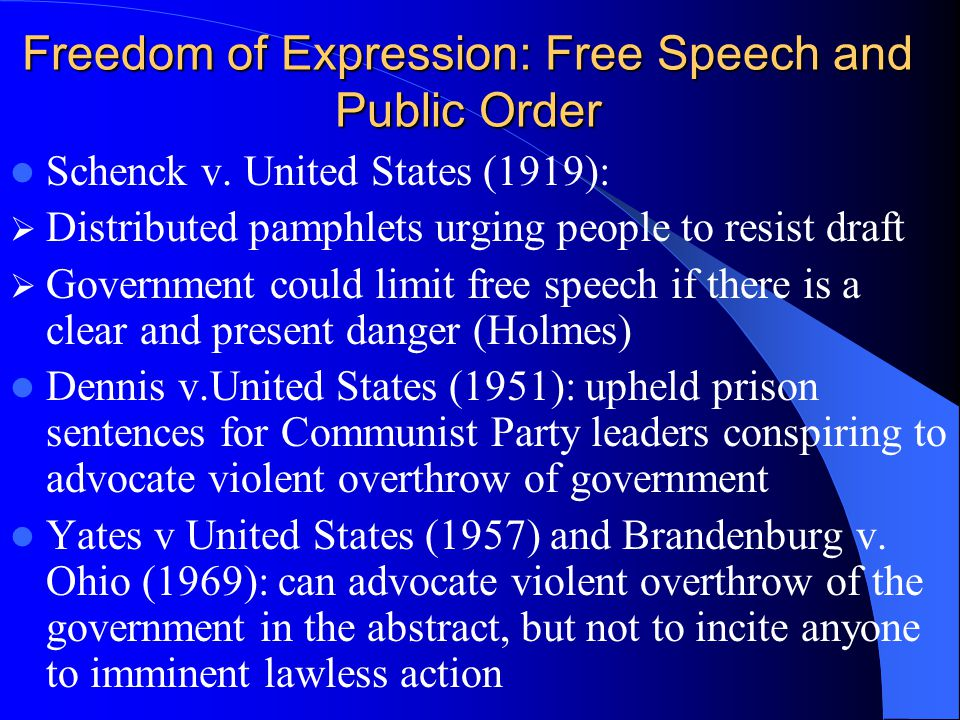 Freedom of Expression: Free Speech and Public Order Schenck v. United States (1919): Distributed pamphlets urging people to resist draft Government co