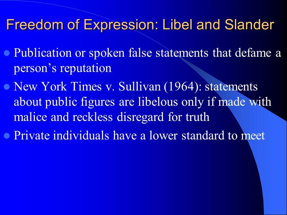 Freedom of Expression: Libel and Slander Publication or spoken false statements that defame a persons reputation New York Times v. Sullivan (1964): st