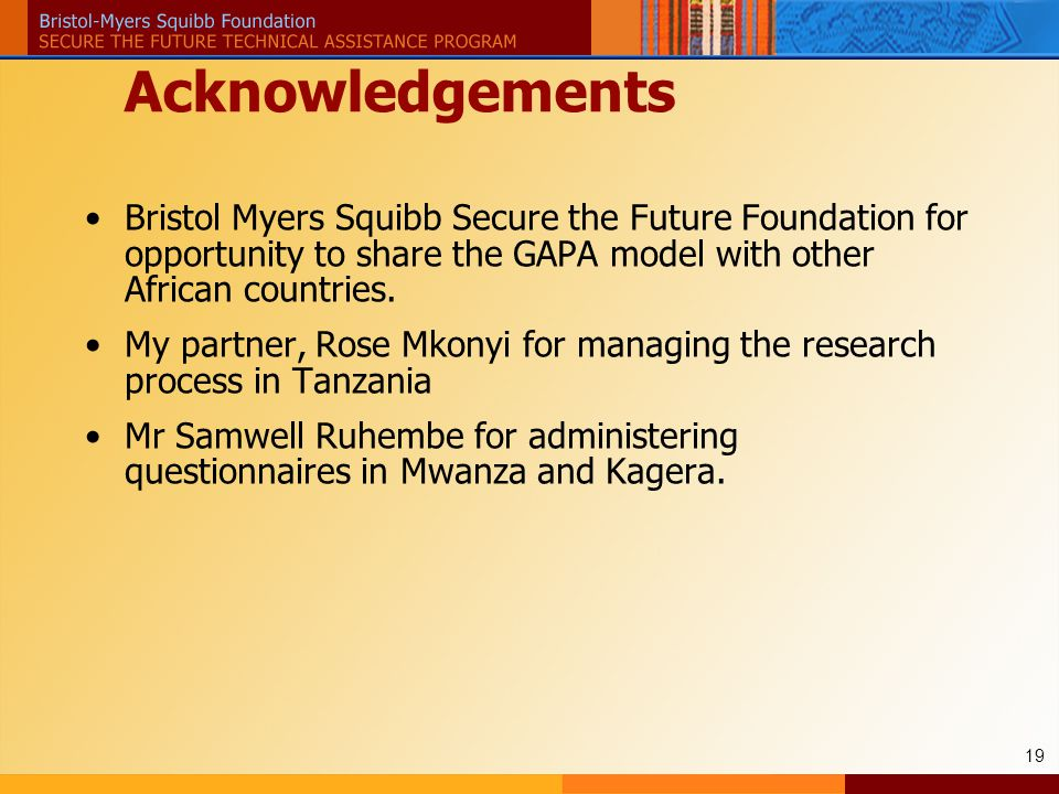 19 Acknowledgements Bristol Myers Squibb Secure the Future Foundation for opportunity to share the GAPA model with other African countries.