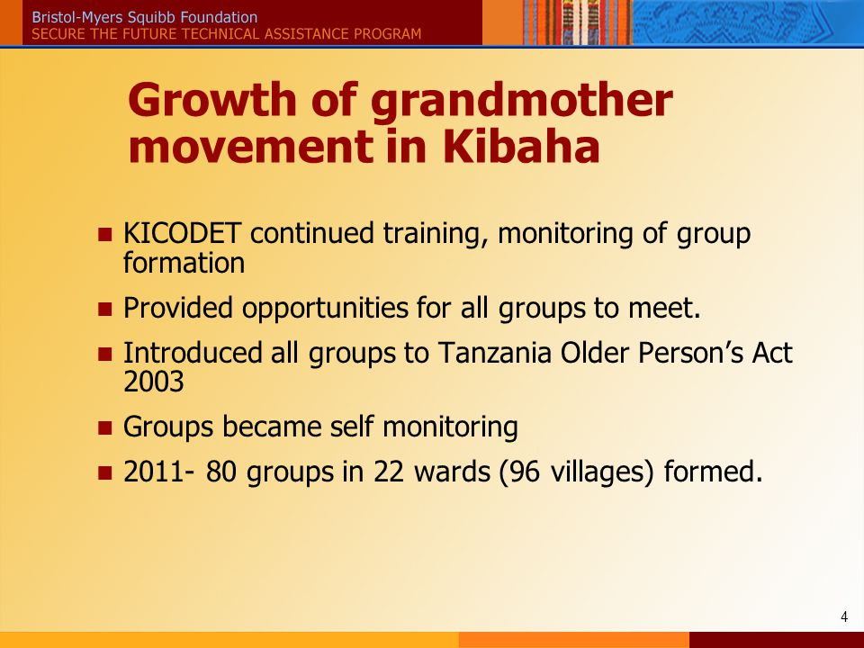 4 Growth of grandmother movement in Kibaha KICODET continued training, monitoring of group formation Provided opportunities for all groups to meet.