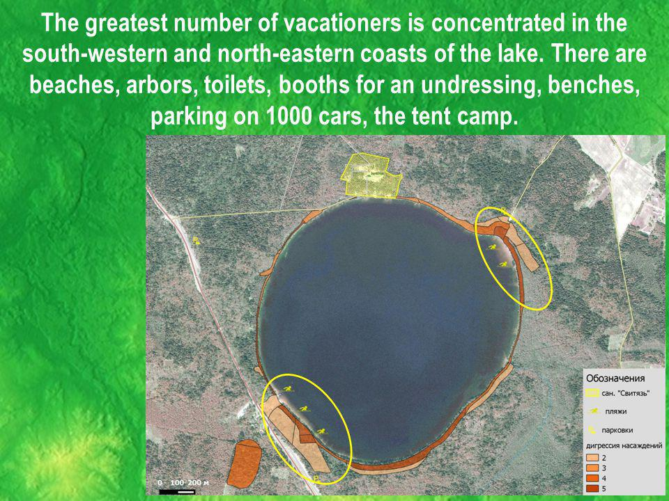 The greatest number of vacationers is concentrated in the south-western and north-eastern coasts of the lake.