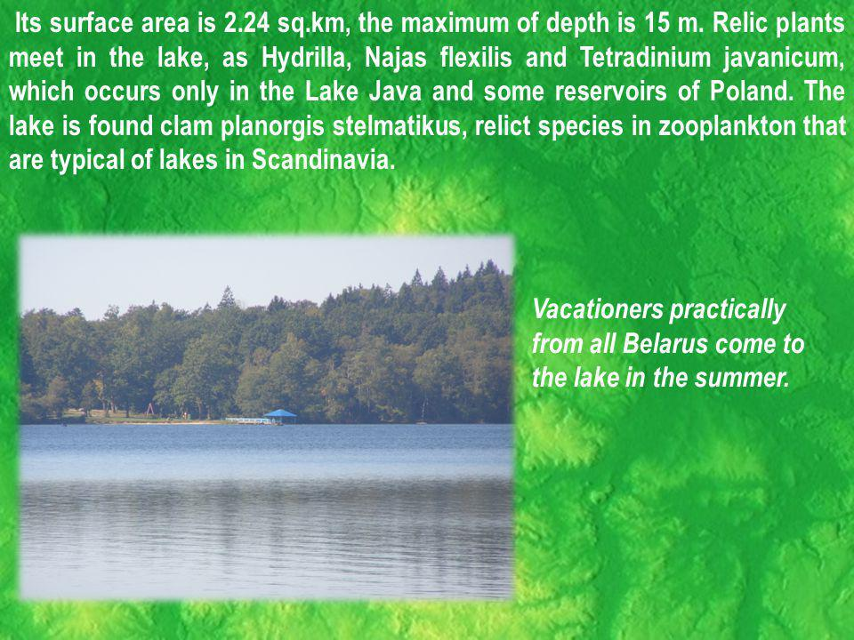 Its surface area is 2.24 sq.km, the maximum of depth is 15 m.