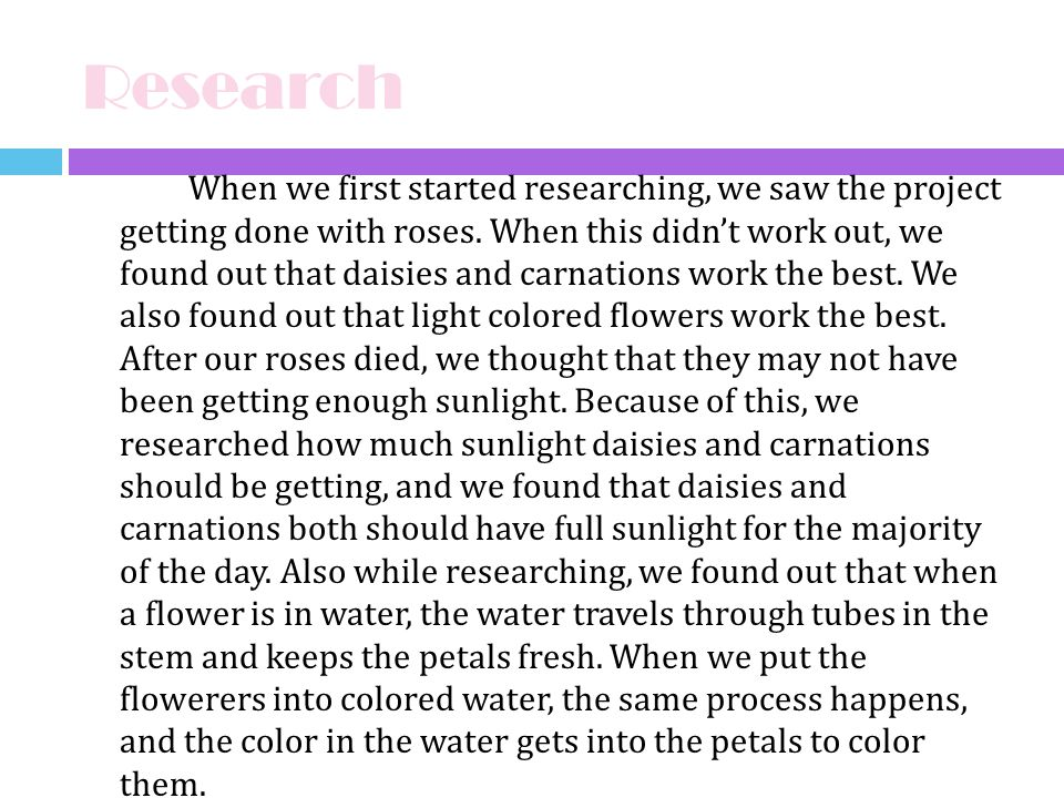 Research When we first started researching, we saw the project getting done with roses. When this didnt work out, we found out that daisies and carnat