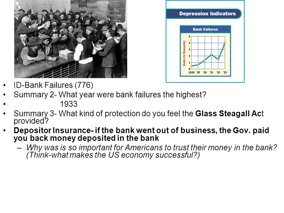 ID-Bank Failures (776) Summary 2- What year were bank failures the highest? 1933 Summary 3- What kind of protection do you feel the Glass Steagall Act