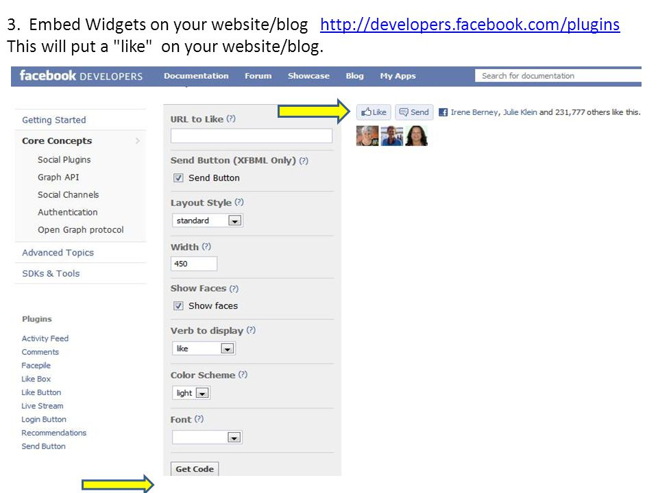 3. Embed Widgets on your website/blog http://developers.facebook.com/plugins This will put a