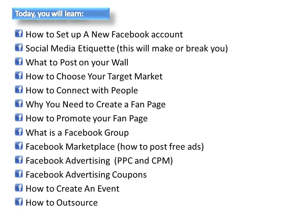Facebook Events is a free application developed by Facebook that anyone can use to promote : Marketing events Company milestones Webinars Grand openings 1.