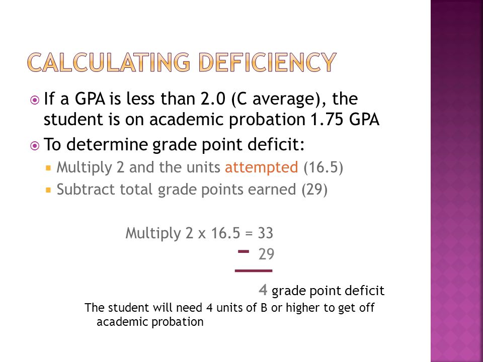 If a GPA is less than 2.0 (C average), the student is on academic probation 1.75 GPA To determine grade point deficit: Multiply 2 and the units attempted (16.5) Subtract total grade points earned (29) Multiply 2 x 16.5 = 33 29 The student will need 4 units of B or higher to get off academic probation 4 grade point deficit