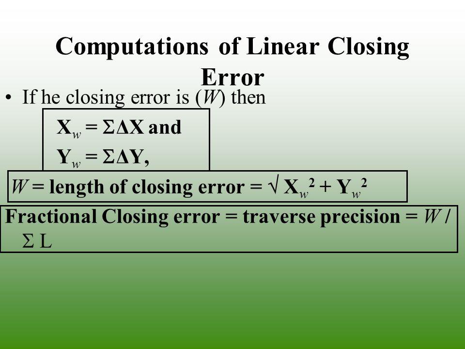Computations of Linear Closing Error If he closing error is (W) then X w = ΔX and Y w = ΔY, W = length of closing error = X w 2 + Y w 2 Fractional Clo