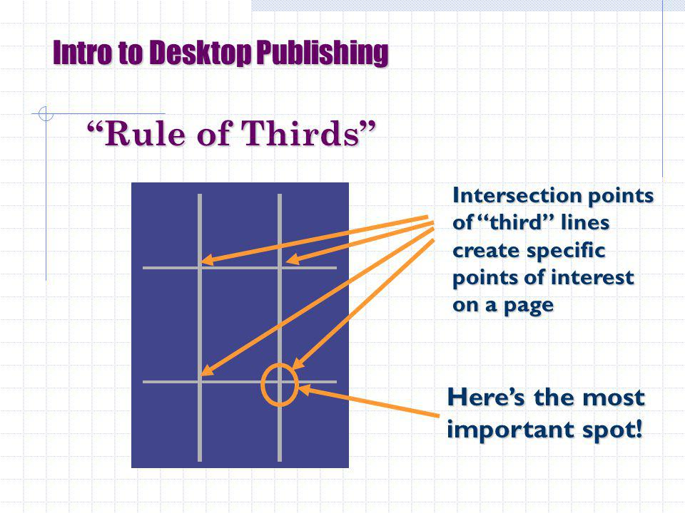 Intro to Desktop Publishing Rule of Thirds Heres the most important spot.