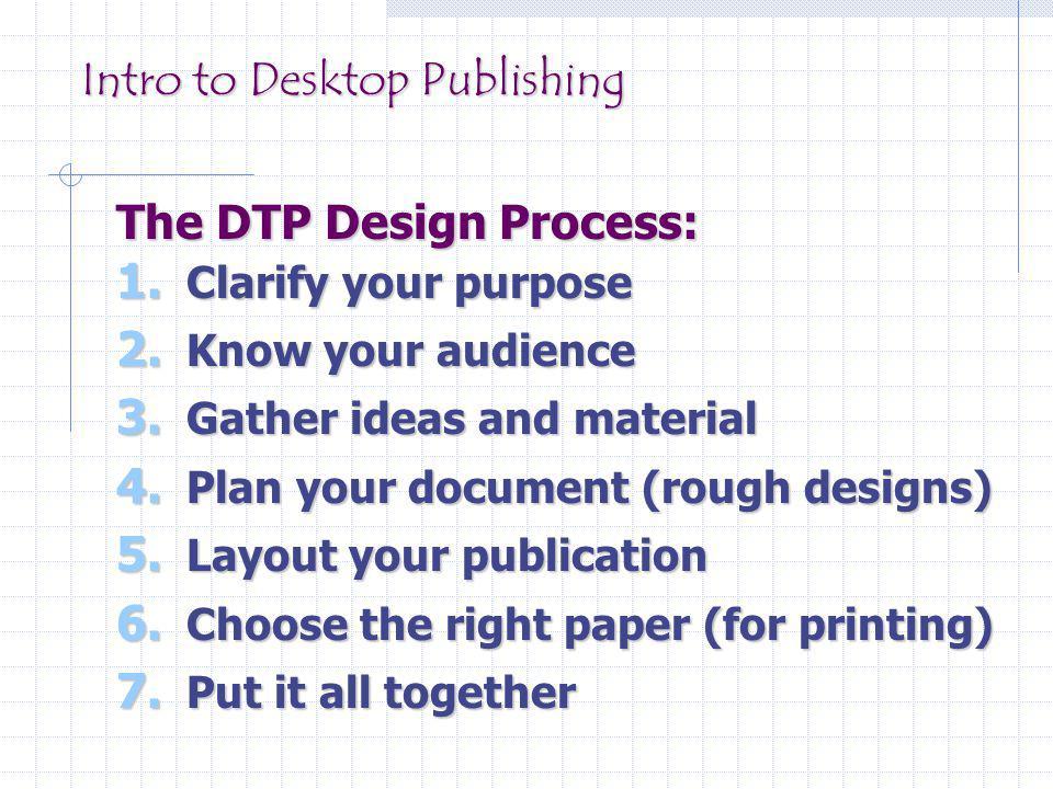 Intro to Desktop Publishing The DTP Design Process: 1.