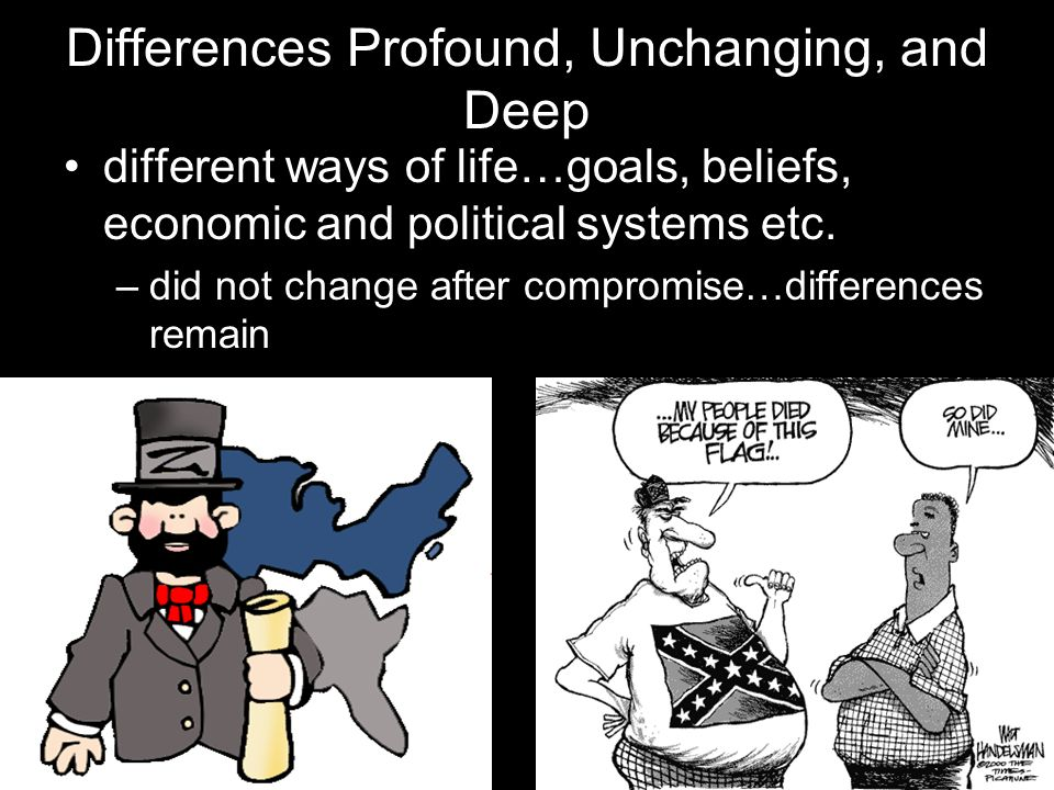 Differences Profound, Unchanging, and Deep different ways of life…goals, beliefs, economic and political systems etc.
