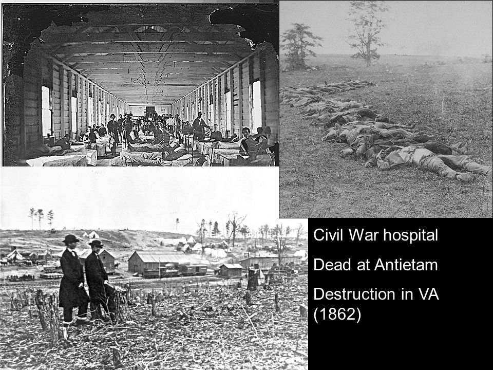 Civil War hospital Dead at Antietam Destruction in VA (1862)
