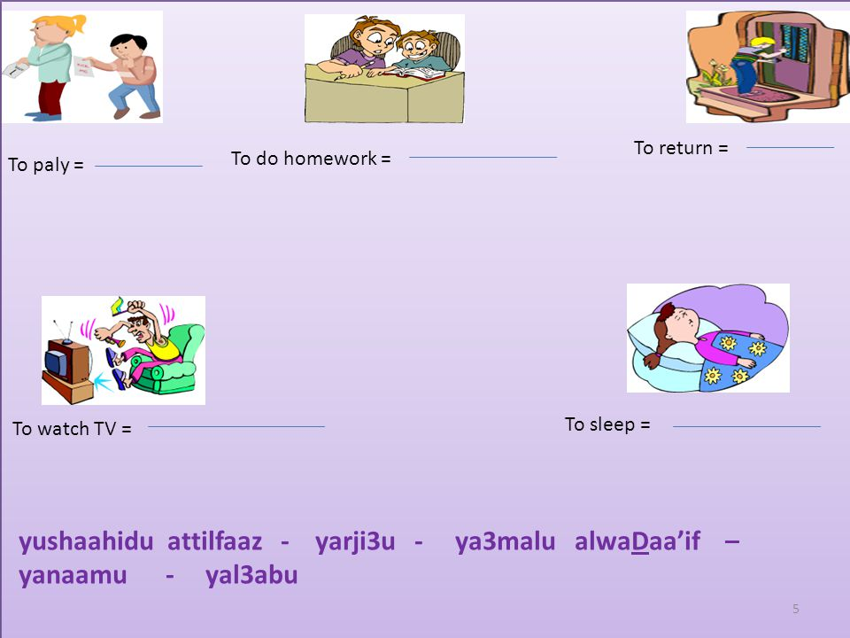 Test your memory by putting the right verb under the right picture To wake up = To wear =To eat = To go = yadhabu - yastayqiDu - yakulu - yalbasu 4