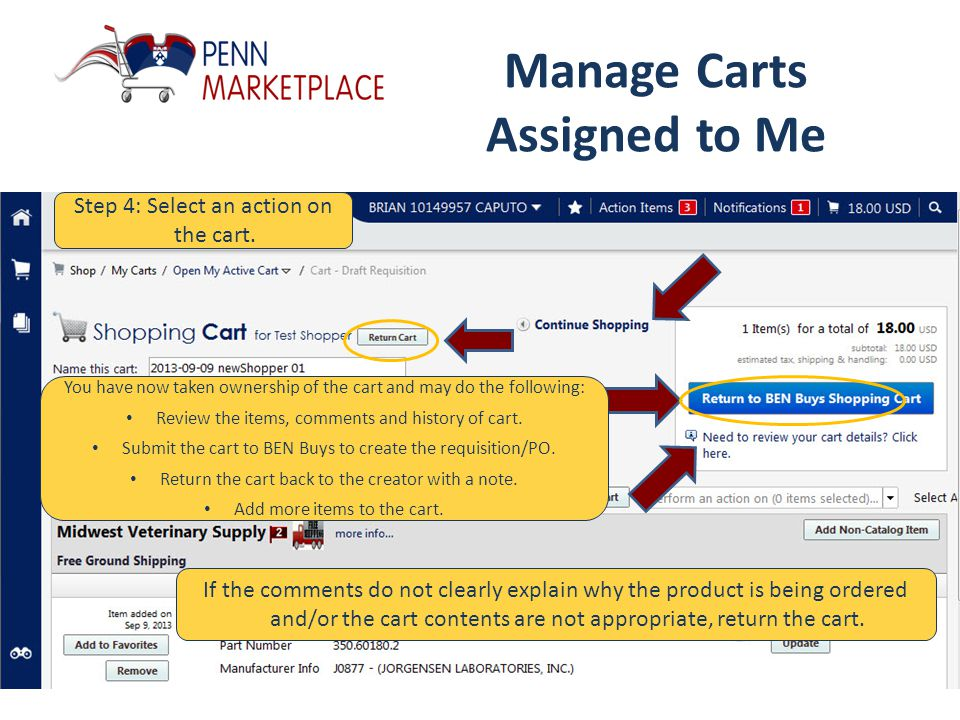 Manage Carts Assigned to Me Step 4: Select an action on the cart.