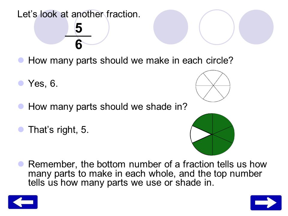 How many parts should we make in each circle? Yes, 6. How many parts should we shade in? Thats right, 5. Remember, the bottom number of a fraction tel