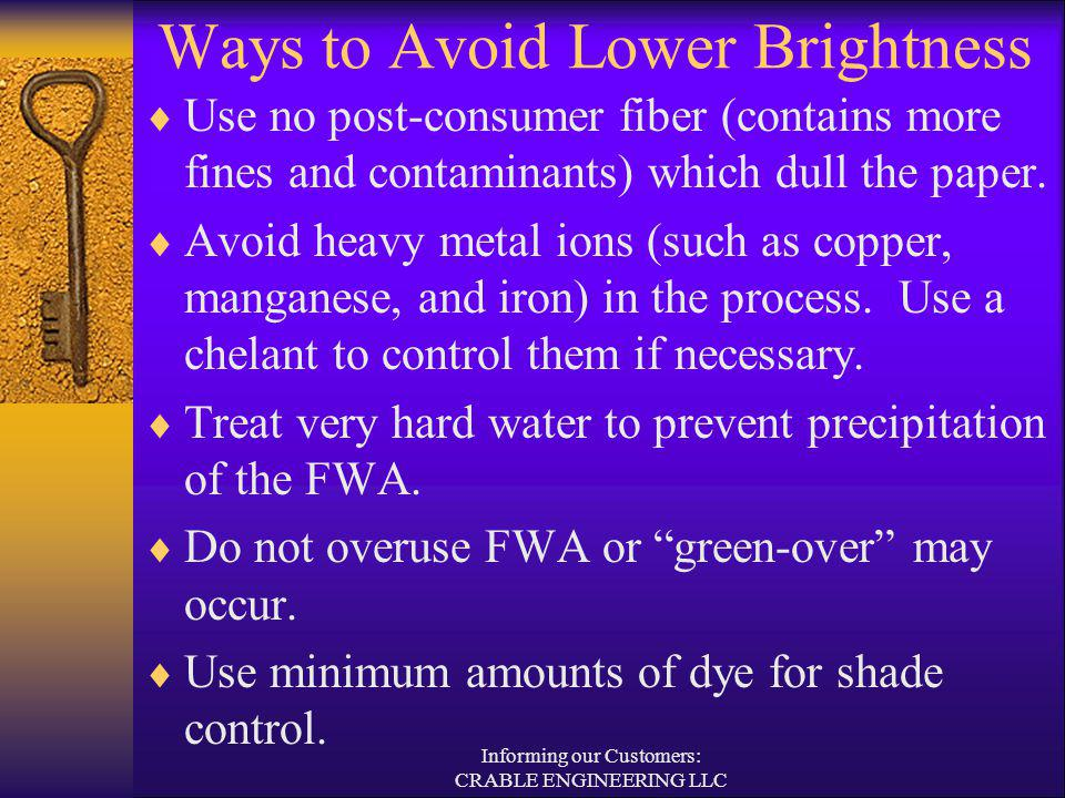 Ways to Avoid Lower Brightness Use no post-consumer fiber (contains more fines and contaminants) which dull the paper. Avoid heavy metal ions (such as