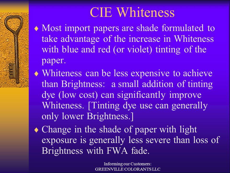 CIE Whiteness Most import papers are shade formulated to take advantage of the increase in Whiteness with blue and red (or violet) tinting of the pape
