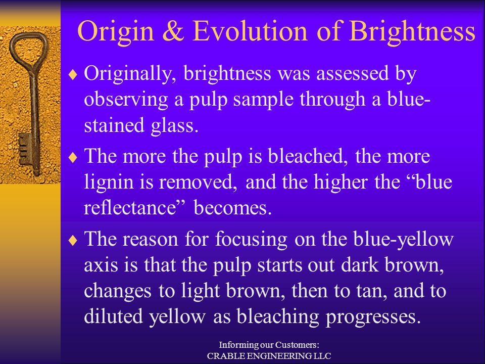Origin & Evolution of Brightness Originally, brightness was assessed by observing a pulp sample through a blue- stained glass. The more the pulp is bl