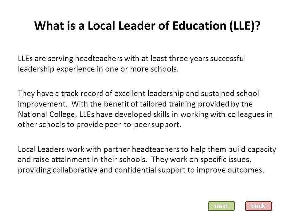 What is a Local Leader of Education (LLE).