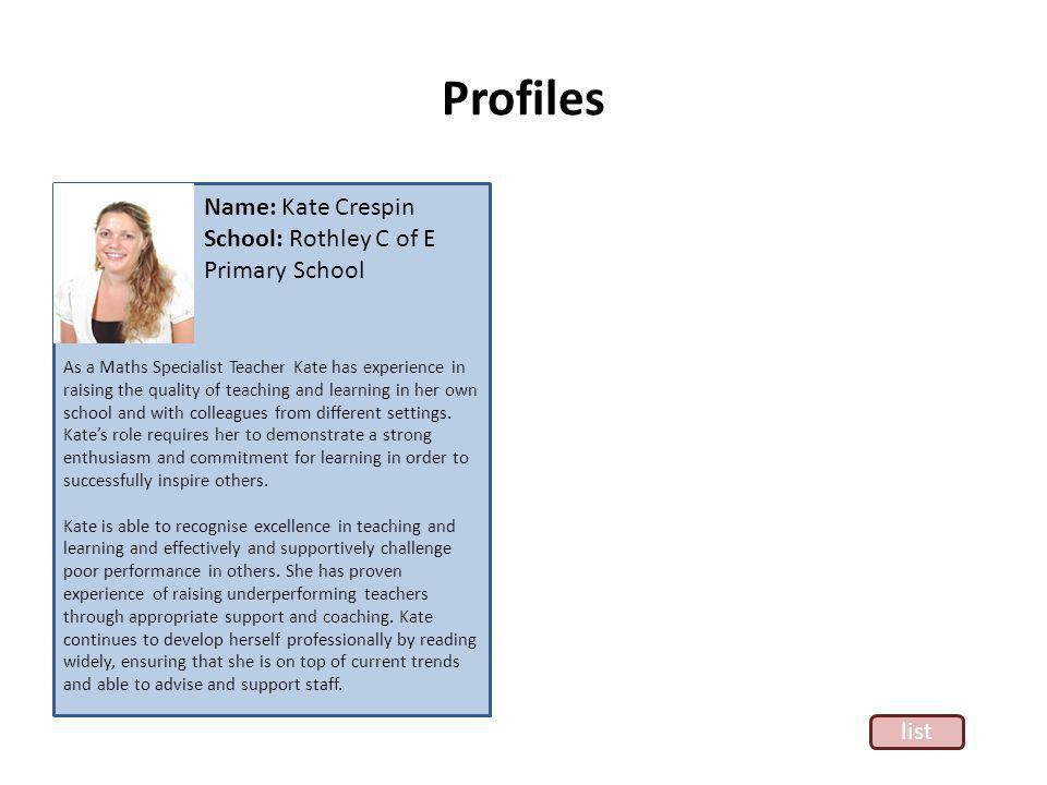 Profiles As a Maths Specialist Teacher Kate has experience in raising the quality of teaching and learning in her own school and with colleagues from different settings.