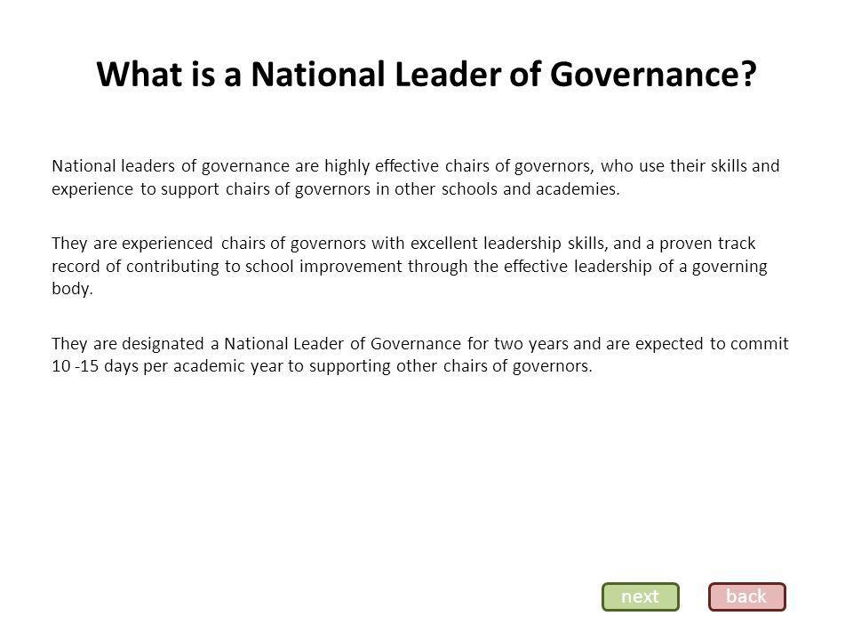 What is a National Leader of Governance.