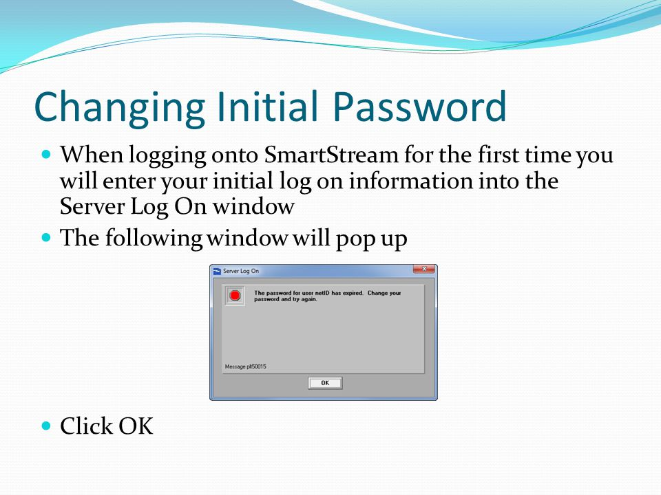 Changing Initial Password When logging onto SmartStream for the first time you will enter your initial log on information into the Server Log On windo