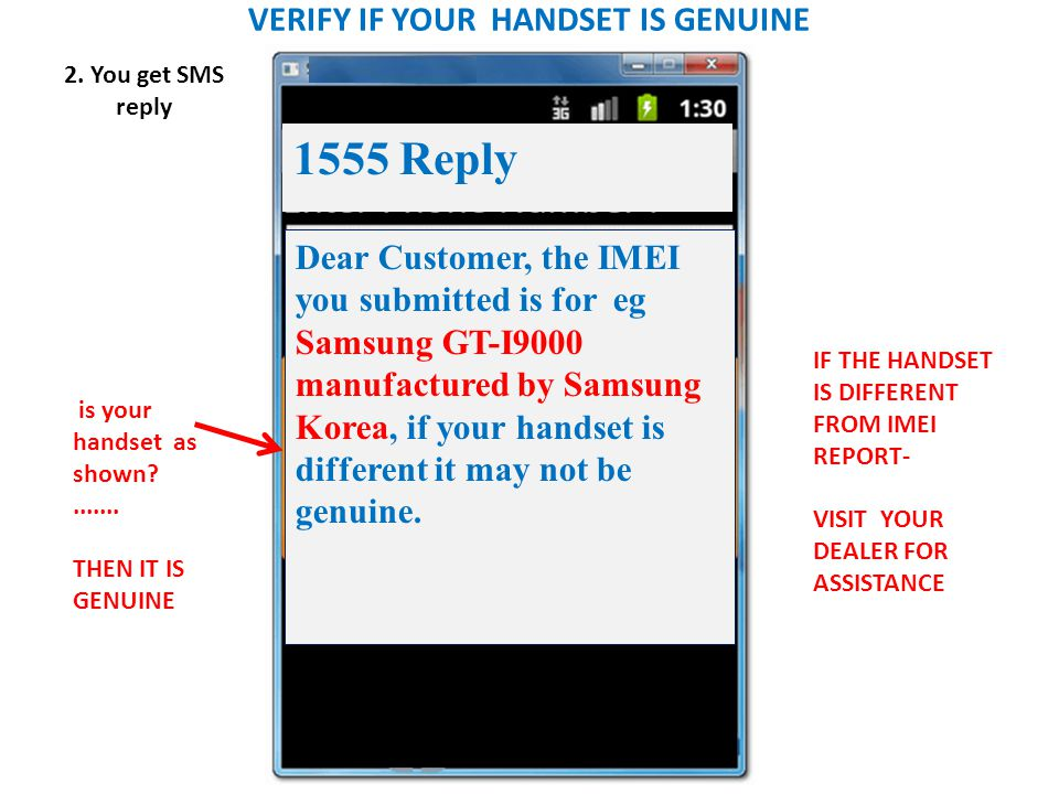 VERIFY IF YOUR HANDSET IS GENUINE 2.