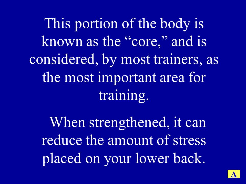 This portion of the body is known as the core, and is considered, by most trainers, as the most important area for training. When strengthened, it can