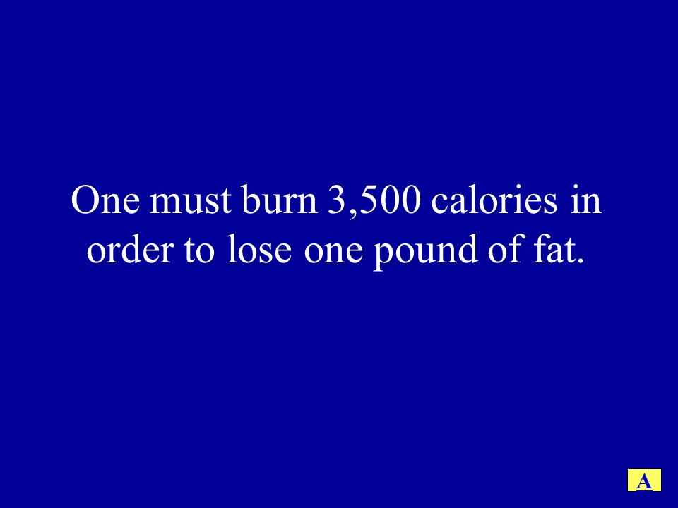 One must burn 3,500 calories in order to lose one pound of fat. A