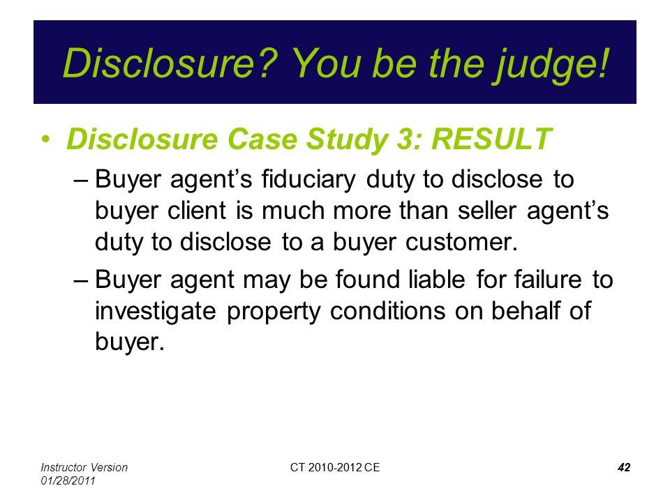 Instructor Version 01/28/2011 CT 2010-2012 CE42CT 2010-2012 CE42 Disclosure.