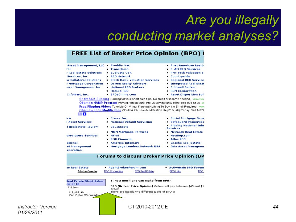 Instructor Version 01/28/2011 CT 2010-2012 CE44 Are you illegally conducting market analyses?