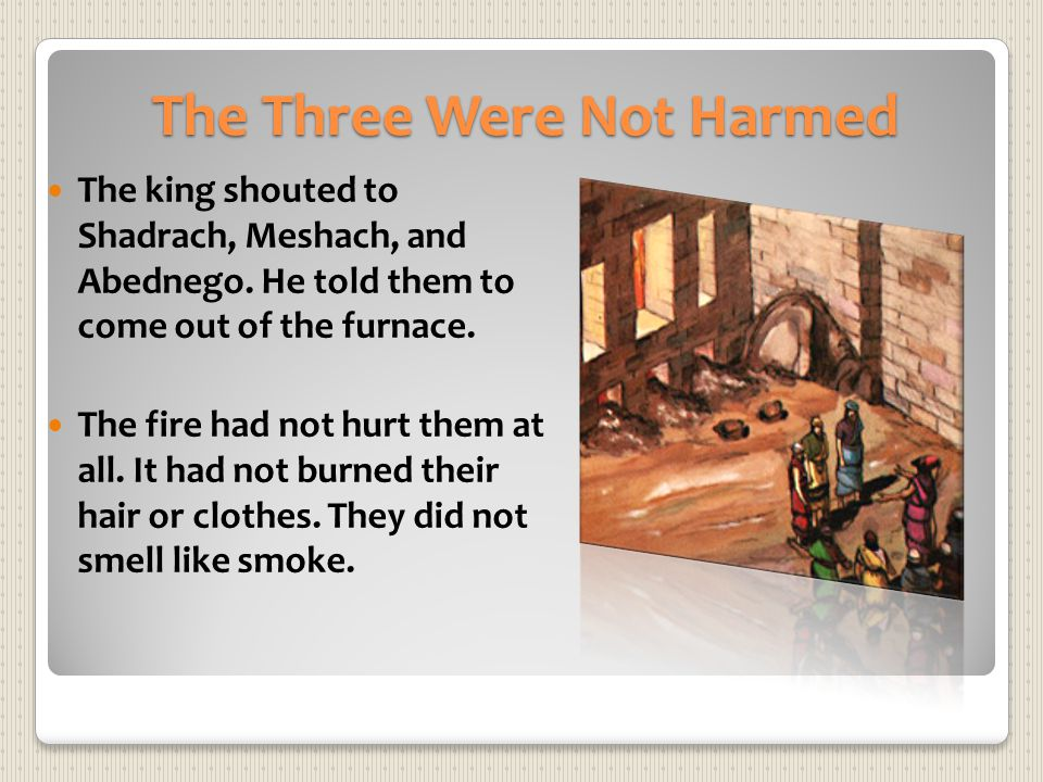 The Three Were Not Harmed The king shouted to Shadrach, Meshach, and Abednego. He told them to come out of the furnace. The fire had not hurt them at
