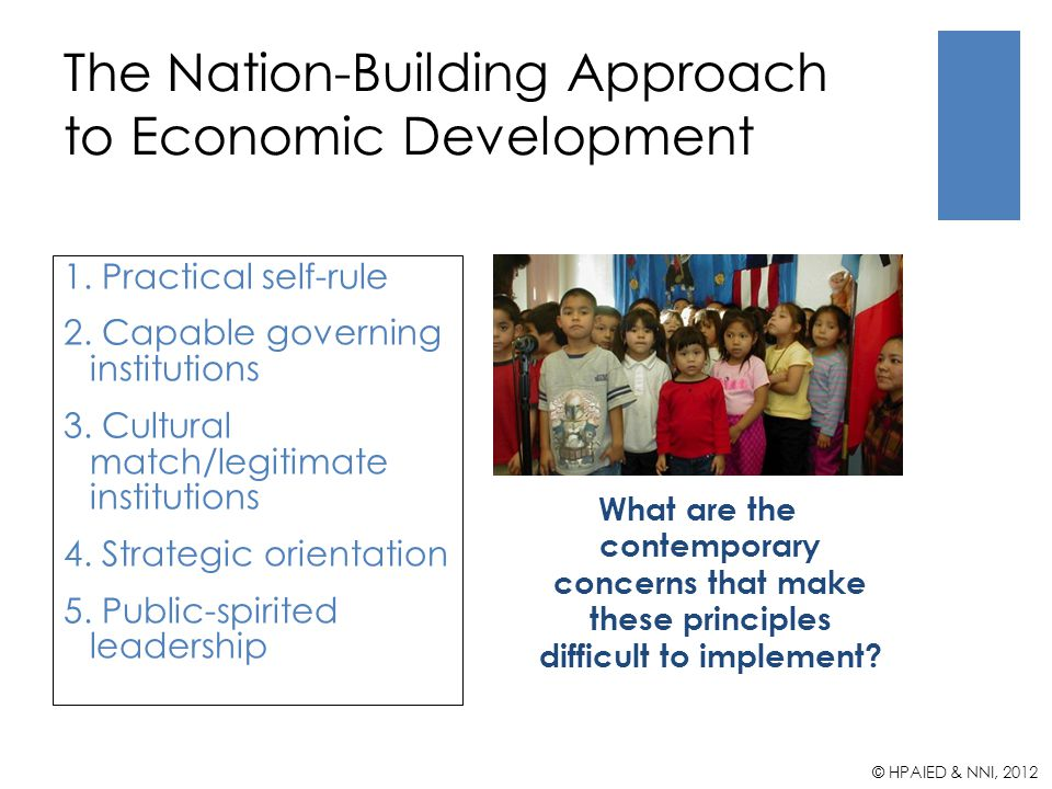 The Nation-Building Approach to Economic Development What are the contemporary concerns that make these principles difficult to implement.