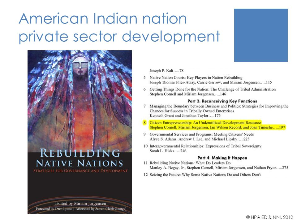 American Indian nation private sector development © HPAIED & NNI, 2012
