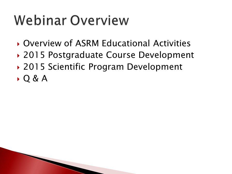 Overview of ASRM Educational Activities 2015 Postgraduate Course Development 2015 Scientific Program Development Q & A