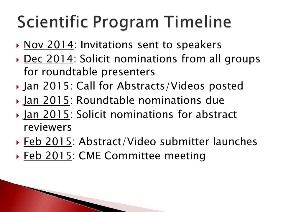 Nov 2014: Invitations sent to speakers Dec 2014: Solicit nominations from all groups for roundtable presenters Jan 2015: Call for Abstracts/Videos pos