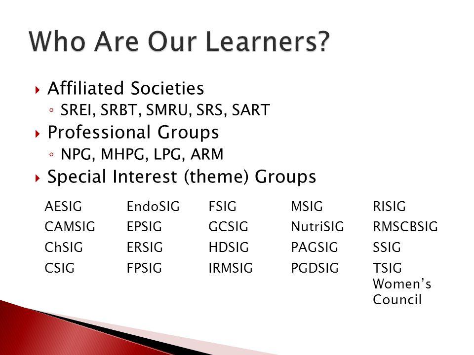 Affiliated Societies SREI, SRBT, SMRU, SRS, SART Professional Groups NPG, MHPG, LPG, ARM Special Interest (theme) Groups AESIGEndoSIGFSIGMSIGRISIG CAM