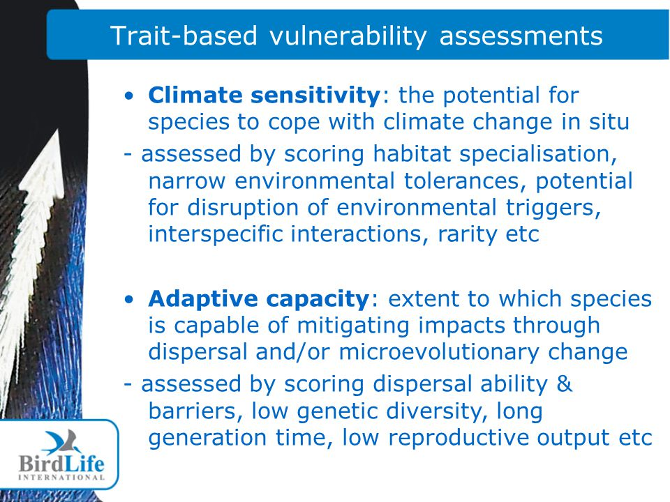 Trait-based vulnerability assessments Climate sensitivity: the potential for species to cope with climate change in situ - assessed by scoring habitat specialisation, narrow environmental tolerances, potential for disruption of environmental triggers, interspecific interactions, rarity etc Adaptive capacity: extent to which species is capable of mitigating impacts through dispersal and/or microevolutionary change - assessed by scoring dispersal ability & barriers, low genetic diversity, long generation time, low reproductive output etc
