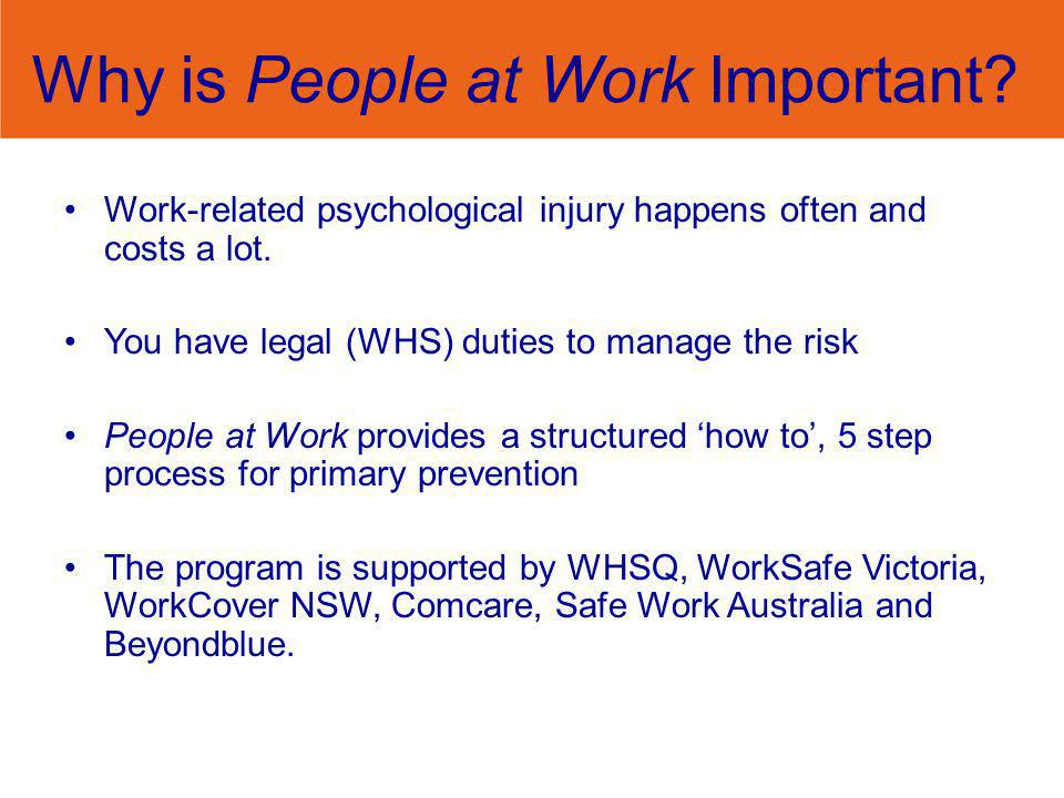 Why is People at Work Important? Work-related psychological injury happens often and costs a lot. You have legal (WHS) duties to manage the risk Peopl