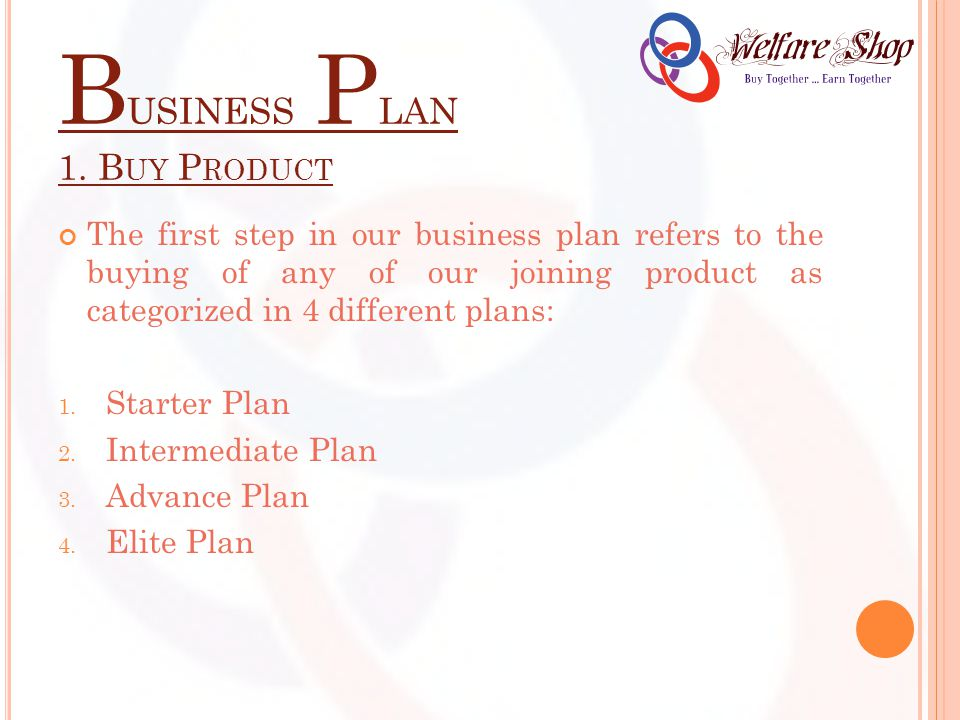 B USINESS P LAN 1. B UY P RODUCT The first step in our business plan refers to the buying of any of our joining product as categorized in 4 different