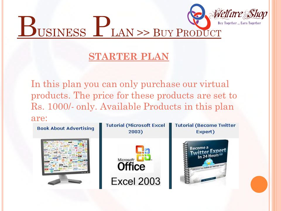B USINESS P LAN >> B UY P RODUCT STARTER PLAN In this plan you can only purchase our virtual products.