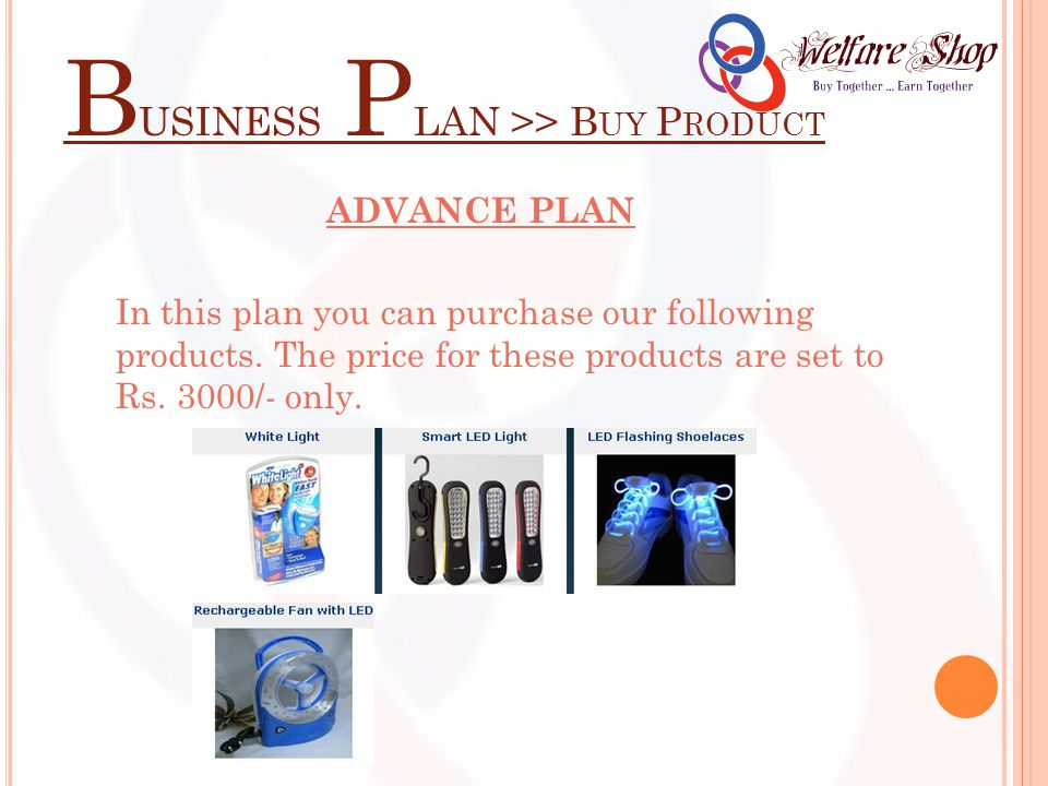 B USINESS P LAN >> B UY P RODUCT ADVANCE PLAN In this plan you can purchase our following products.