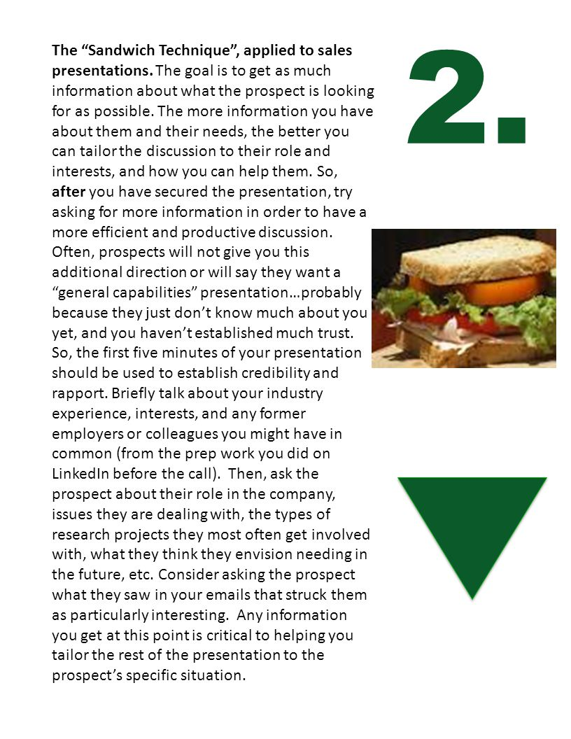 The Sandwich Technique, applied to sales presentations. The goal is to get as much information about what the prospect is looking for as possible. The