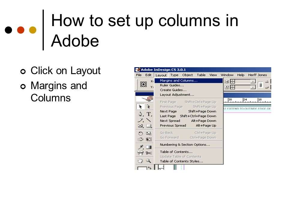 How to set up columns in Adobe Adjust the number of columns to 5.