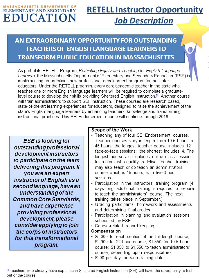 Required Qualifications Two (2) years experience teaching ESL and/or Bilingual education in a K-12 setting, or equivalent or related expertise.